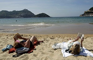 en la playa de La Concha de San Sebastián