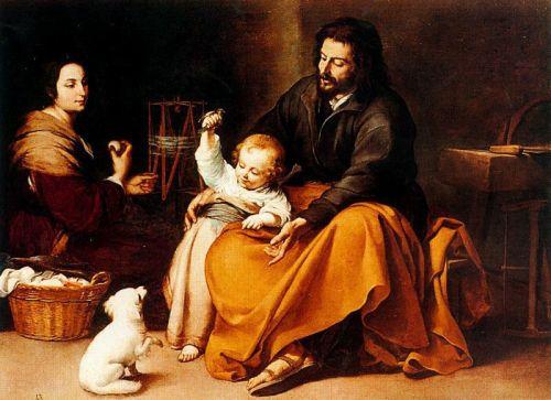 Бартоломе Эстебан Мурильо  Murillo Музей Прадо Мадрид Испания Святое Семейство с Птичкой 1650 год Холст, Масло 144х188 см
