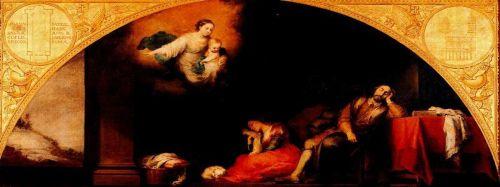 Музей Прадо Мадрид Мурильо Murillo Основание церкви Санта Мария Маджоре в Риме I: сон патриция Иоанна 1662-65 годы Холст, Масло 232х522 см   La fundación de Santa María Maggiore de Roma I   El sueño del Patricio Juan