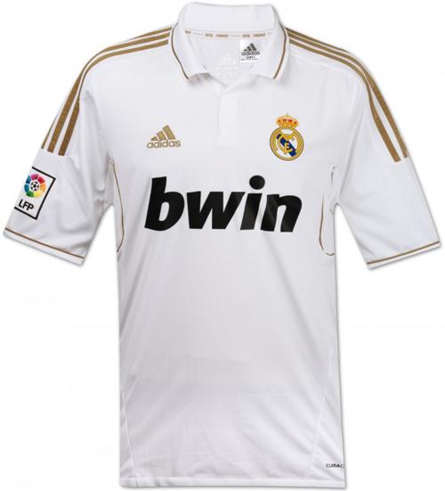 Новая форма Реал Мадрид белая футболка с золотыми полосками сезон 2011-2012  Real  Madrid Blanco