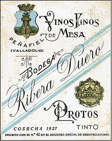 Этикетка вина Рибера дель Дуэро Ribera del Duero 1927 года