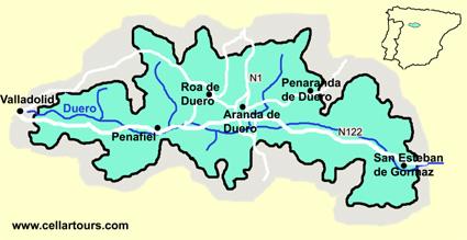 Карта долины Рибера дель Дуэро Ribera del Duero