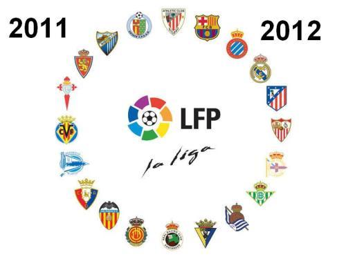 Лига LFP ЛФП Liga  BBVA 2011 - 2012. Гербы Команд , расписание матчей.