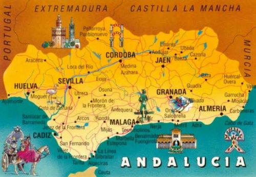 Карта  Туристическиx  маршрутов Андалусии