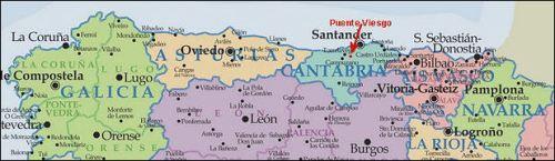 Карта  Туристическиx  маршрутов Галиции и Астурии