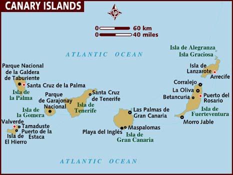 Туры Канарские Острова Испания - Карта Канарских островов