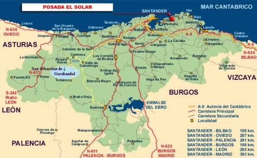 Карта туристических маршрутов Кантабрии Cantabria