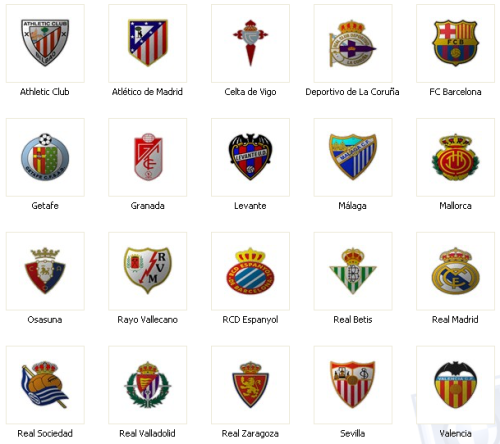 Календарь испанской футбольной лиги BBVA сезон 2012-2013. Команды Лига BBVA