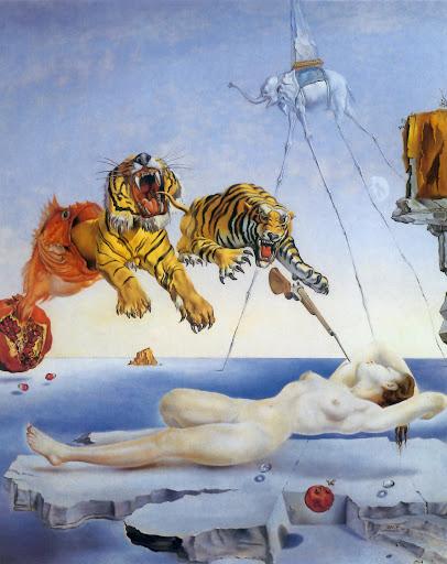 """""""Сон, навеянный полетом пчелы вокруг граната за миг до пробуждения """" Сальвадор Дали, 1944 год, Музей Тиссен-Борнемиса Мадрид"""