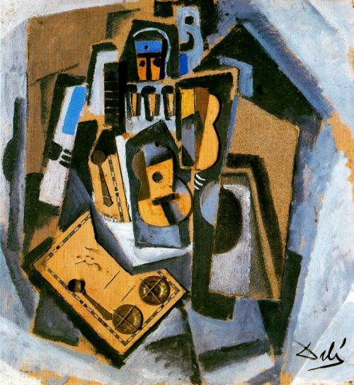 """Пьеро с гитарой"" , ""Pierrot with a Guitar"",  ""Pierrot y Guitarra"" Сальвадор Дали, 1923 год, Музей Тиссен-Борнемиса Мадрид"