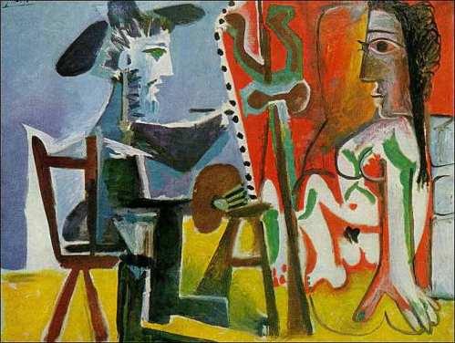 """Пабло Пикассо Pablo Ruiz Picasso """"Художник и Модель  El pintor y la modelo"""" 1963 год Музей Королевы Софии Мадрид Испания  , размер  130 x 161 см"""