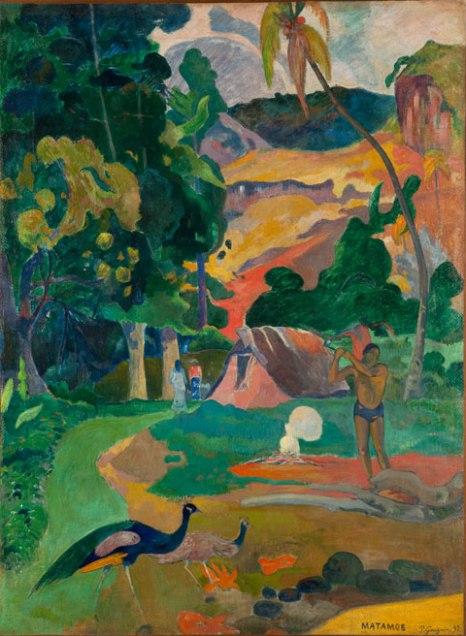 Выставка Гогена в Мадриде  Матамое (Смерть) Пейзаж с павлинами Matamoe Muerte. Paisaje con pavos reales