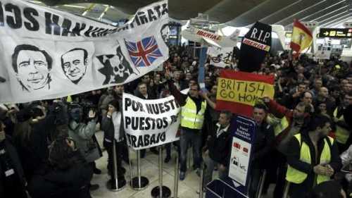 """Забастовка работников авиакомпании """"Иберия Iberia"""" Мадрид аэропорт Барахас Barajas"""