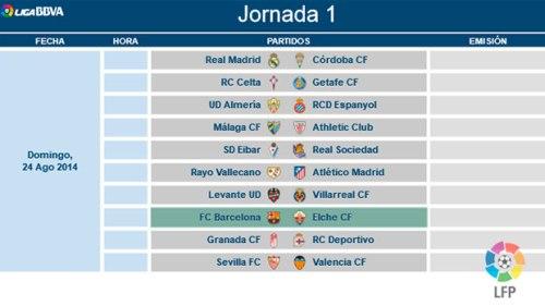 Чемпионат Испании по Футболу- Расписание матчей сезон 2014 – 2015 годы. 1- й круг календарь испанской футбольной лиги BBVA, туры 1-10. Билеты на футбол