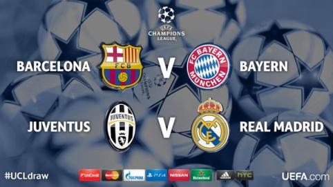 Купить билеты на футбол  Полуфиналы 1/2 финала Лига Чемпионов Champions League сезон 2014-2015 . Реал Мадрид - Ювентус  , ФК Барселона - Бавария май 2015 года.