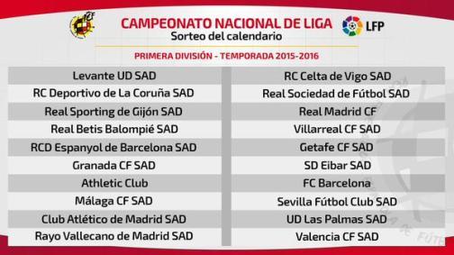 Чемпионат Испании по Футболу- Расписание матчей сезон 2015– 2016 годы. Календарь игр Лига ББВА Liga BBVA 2015-2016 . Билеты на футбол