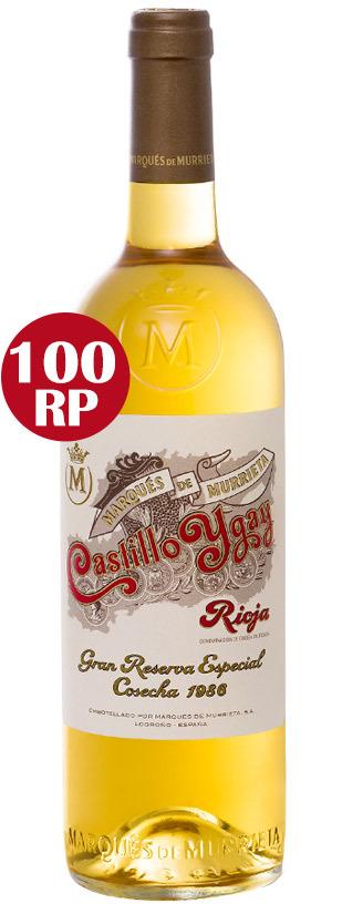белое вино Маркиз де Муррьета Marqués de Murrieta, Кастильо де Игай Бланко , Гран Резерва Эспесиаль 1986 года, Castillo de Ygay Blanco Gran Reserva Especial, 1986, получило 100/100 у Паркера