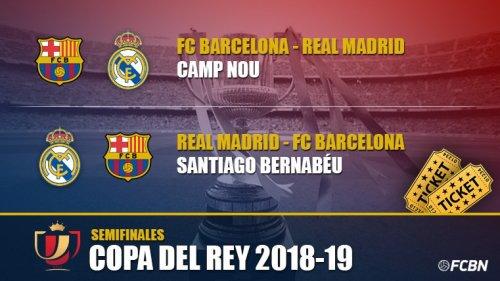 Полуфинал , 1/2 финала Кубка Испании, Кубка Короля Copa del Rey, Эль Классико, Реал Мадрид - ФК Барселона 6 и 27 февраля 2019 года. Билеты на футбол.
