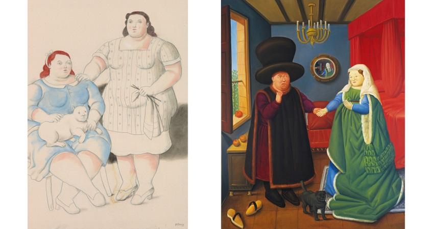 """Реплика Ботеро на портрет Яна ван Эйка """"Чета Арнольфини"""" и знаменитые две сестры."""