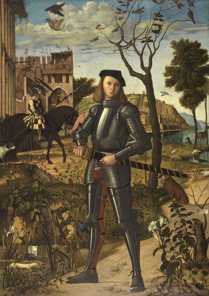 """Витторе Карпаччо Vittore Carpaccio """"Молодой рыцарь на фоне пейзажа""""(Joven caballero en un paisaje) 1505 год."""